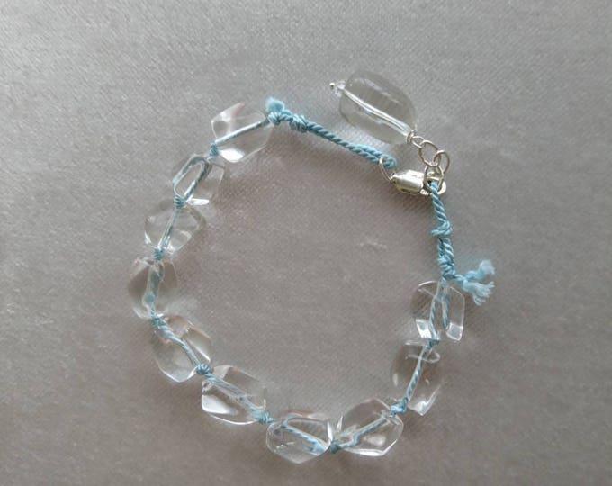 Clear quartz nugget bracelet, rock crystal bracelet, silk cord jewellery, summer bracelet, semi precious stone jewelry, gift for her, blue