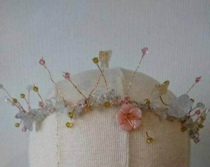 Midsummer dream tiara, Fairy gemstone crown, faerie garden headdress, costume party, accessories,