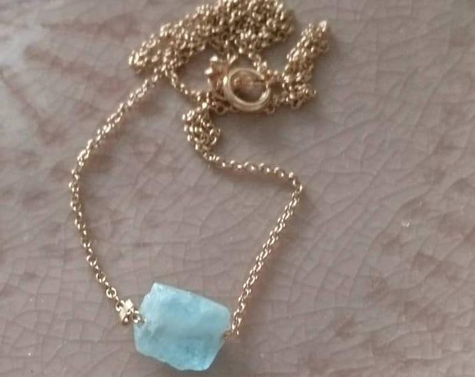 Raw aquamarine necklace, dainty crystal jewellery, modern minimal jewelry, everyday wear, March birthstone, summer gift for her, boho chic
