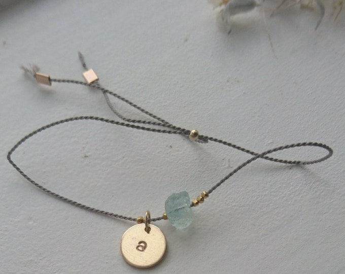Raw aquamarine cord bracelet with gold vermeil style nuggets and a personalised disc charm, March birthstone gift for her