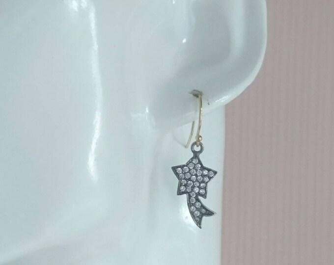 Shooting star earrings, topaz drop earrings