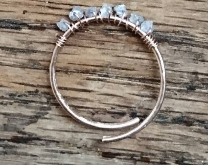 Raw diamond ring rose gold,adjustable stacking ring,rough diamond jewelry,April birthstone, Christmas gift for her, romantic gift, stackable