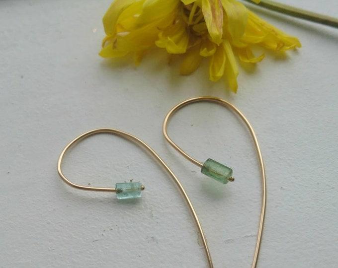Raw green tourmaline threader earrings in 14k gold fill