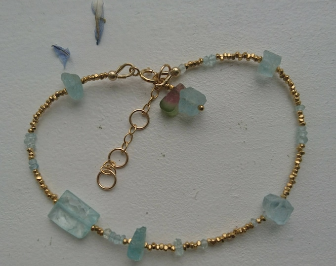 Aquamarine bracelet with gold vermeil beads and watermelon tourmaline charm and personalised tag, gift for her birthday, March birthstone,