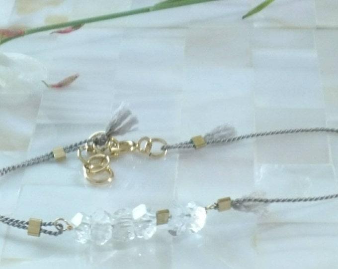 Herkimer diamond  bracelet, silk cord bracelet with herkimer diamonds, très chic gift for her, anniversary gift,dainty jewellery,minimal