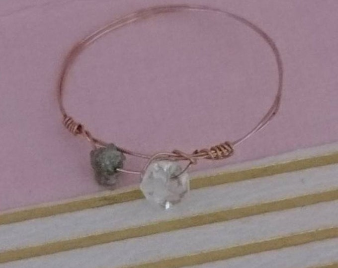 Herkimer diamond and raw diamond rose gold wire ring, dainty modern delicate jewellery Christmas gift for girlfriend wife best friend niece