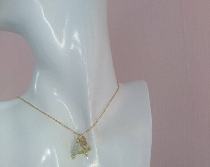 Aquamarine necklace with heliodor and gold tag