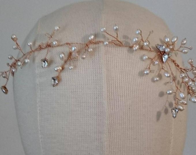 Rose gold hair vine freshwater pearls and Swarovski crystals, delicate bridal accessories, summer bride, honeysuckle hair vine,elegant bride