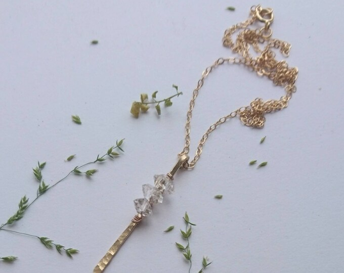 Herkimer diamond stick pendant, hammered jewelry, artisan luxe