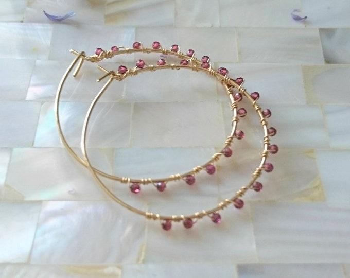 Garnet hoops, January birthday gift for her, birthstone jewellery, hoop earrings with gemstone, gem wrapped hoops, gold fill hoop earring