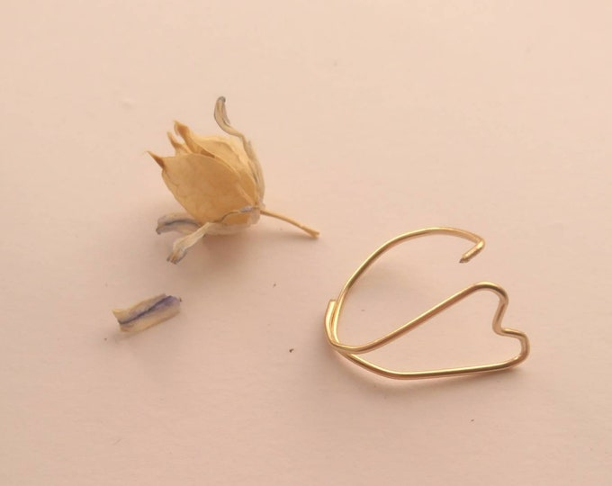 Open heart ring, simple ring, stackable