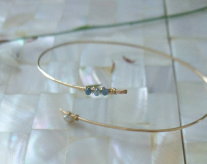 Blue sapphire bangle, September birthday gift for her, birthstone jewellery, bypass bracelet, gemstone jewelry, chic minimal jewellery