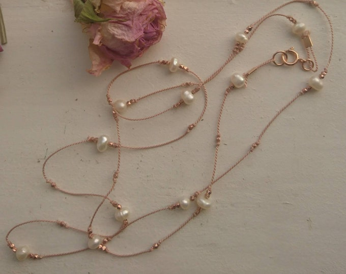 All the single 'pearls' long silk necklace with pearls and vermeil style nuggets, necklace for layering, minimal style, June birthstone