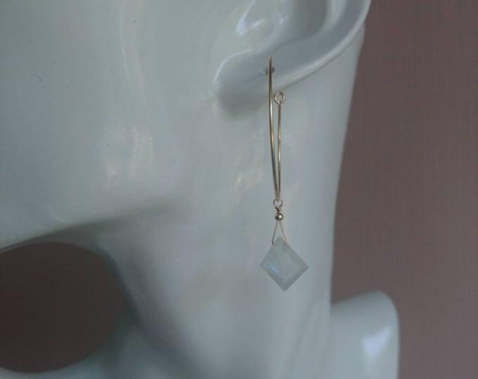 Moonstone hoops, Moonstone drop earrings, hoops with moonstone charms