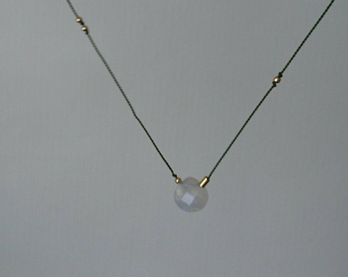 Rainbow moonstone silk cord necklace with gold fill beads, boho chic jewellery, cord jewelry,gift for her,dainty minimal trend