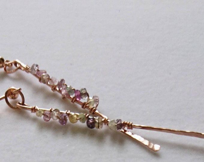 Sapphire earrings,  rose gold hammered shards, September birthday gift for best friend, mum, girlfriend,artisan design jewellery, boho chic
