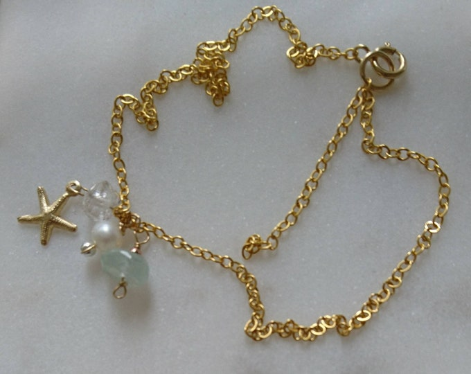 Beach babe ankle bracelet with aquamarine, pearl, herkimer diamond and starfish charms, summer jewellery, beach bride anklet,something blue