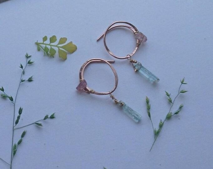 Aquamarine and watermelon tourmaline earrings, drop earrings, boho luxe