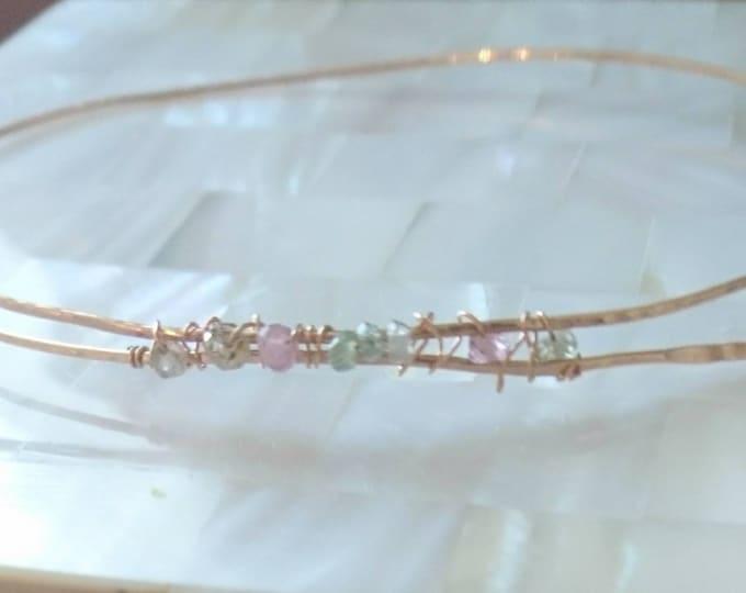 Sapphire bangle skinny, September birthday gift for her, birthstone jewellery, organically hammered gold fill bracelet, artisan style jewelr