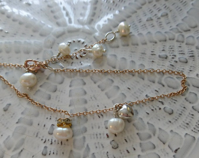 Rose gold and pearl anklet, pearl jewellery, gift for her, June birthstone, holiday jewellery,sterling silver heart charm, summer jewellery
