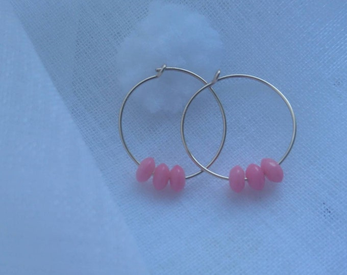 Hoop earrings with coral, gold fill hoops, minimal jewelry