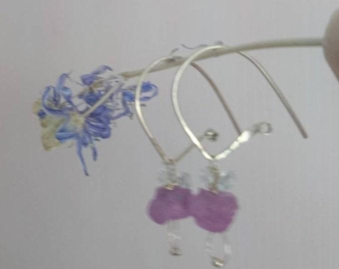 Raw pink sapphire earrings