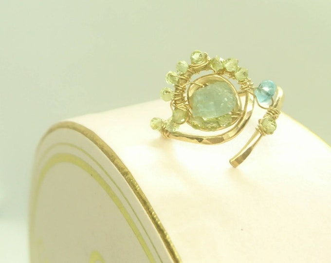 Persephone, aquamarine, apatite and peridot 14k gold fill ring, unique design jewellery, deity ring, gift for her, artisan  spiral ring,