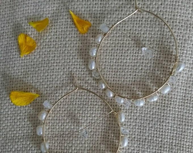 Freshwater pearl hoops,  herkimer diamond and pearl earrings,June birthstone, birthday gift for her, for mum, best friend, niece