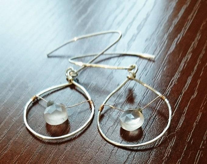 Rose quartz hoop earrings with raw diamonds,teardrop hoop earrings,jewellery silver, birthday gift for her, statement delicate earrings