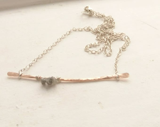 Bar necklace with raw diamonds, April gift for her, layering necklace, modern elegant jewellery, romantic gift, modern muse,