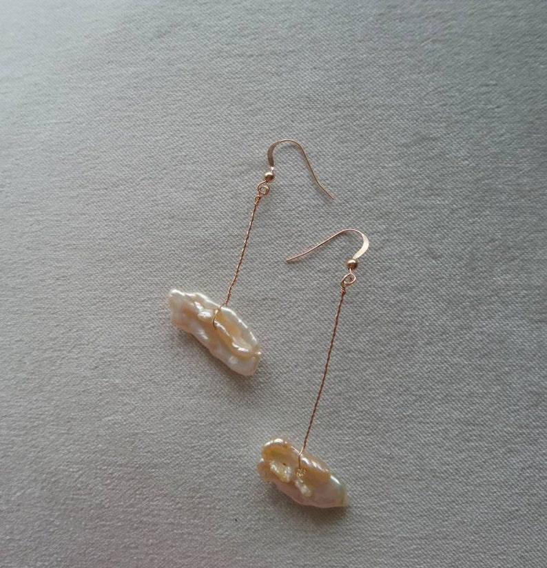 unusual earrings pearl earrings uk pearl jewellery rose gold drop Rose gold pearl drop earrings unique jewellery dangle pearl earrings