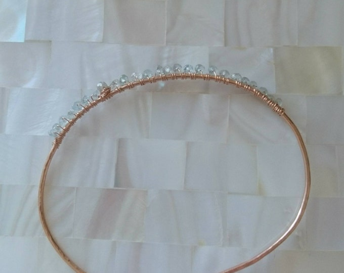 Micro faceted aquamarine bracelet in rose gold 14k filled, open bangle with tiny aquamarines and diamond, March birthstone gift for her