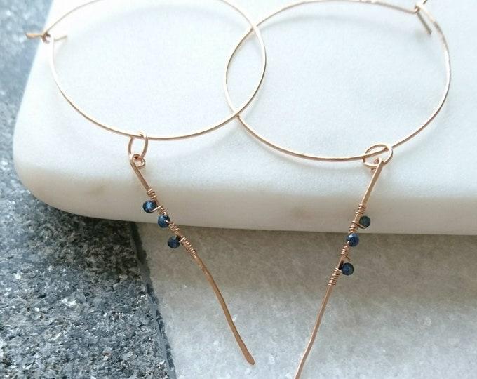 Sapphire hoop earrings with rose gold shards, September birthday  for her birthstone gift for best friend, girlfriend, artisan earrings