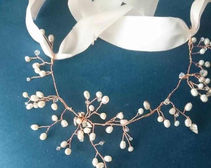 Bridal tiara, pearl and Swarovski crown in rose gold, delicate halo