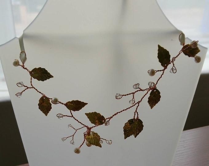 Greek goddess necklace, necklace gold leaves, gold leaf hair, Swarovski gold leaves, rose gold wire necklace, woodland wedding, bride boho