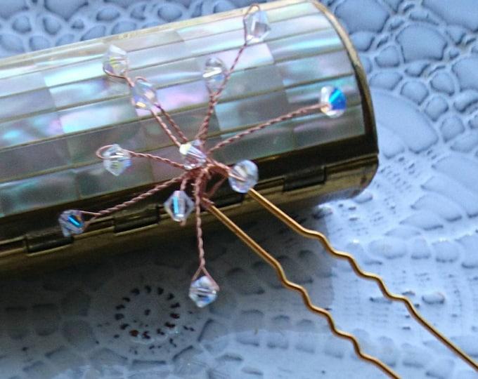 Swarovski star hairpins, winter wedding, snowflake hair grips, ice queen winter bride, bridesmaid hair accessories, Christmas hair jewelry