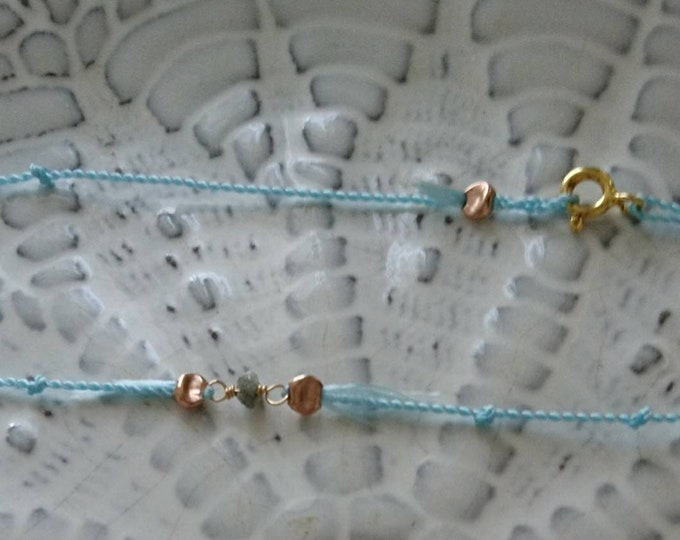 Raw diamond friendship bracelet, boho jewellery, diamond silk bracelets, April birthday gift for her, best friend gift, silk cord jewelry