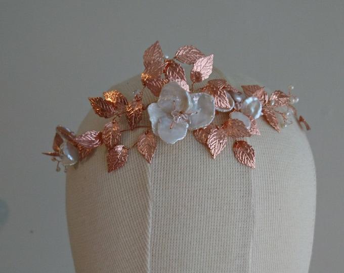 Goddess crown rose gold leaves, pearls and crystals, boho wedding halo, woodland wedding, Greek leaf headdress, leaf bride tiara, costume