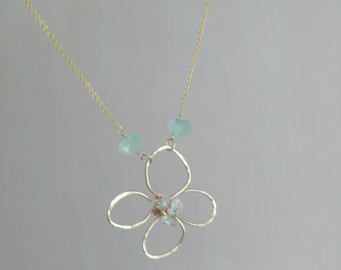 Flower pendant with herkimer diamonds, aquamarine necklace, summer jewellery