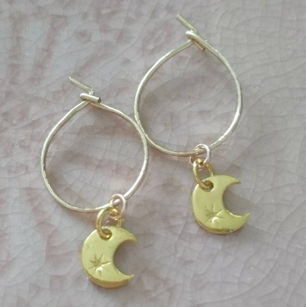 Moon star hoop Gift for her 14 k gold filled earrings tiny hoop earrings dainty celestial hoops