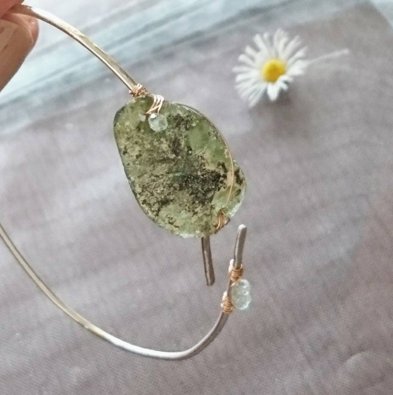 poetic jewellery, gift artefact style bracelet Ancient Roman glass bangle with aquamarine Roman glass jewellery one of a kind jewellery