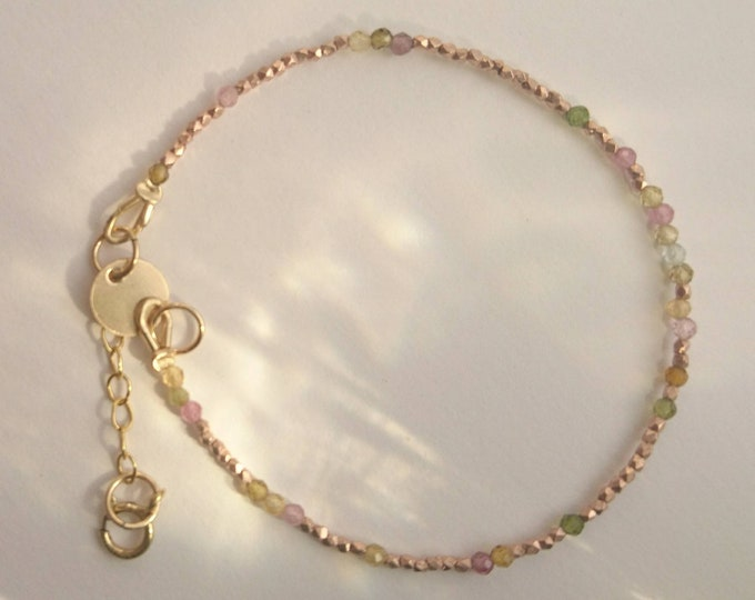 Watermelon tourmaline bracelet with rose gold vermeil style nuggets, stacking bracelet, dainty summer jewellery