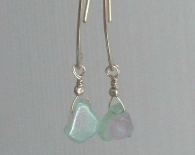 Watermelon tourmaline earrings, gemstone drop earrings, modern minimal jewelry