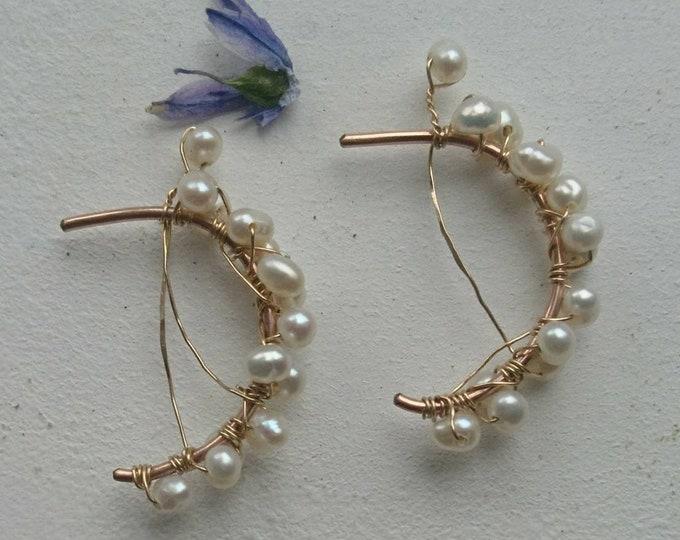 Pearl hoops, artisan pearl earrings, modern pearls, June birthday