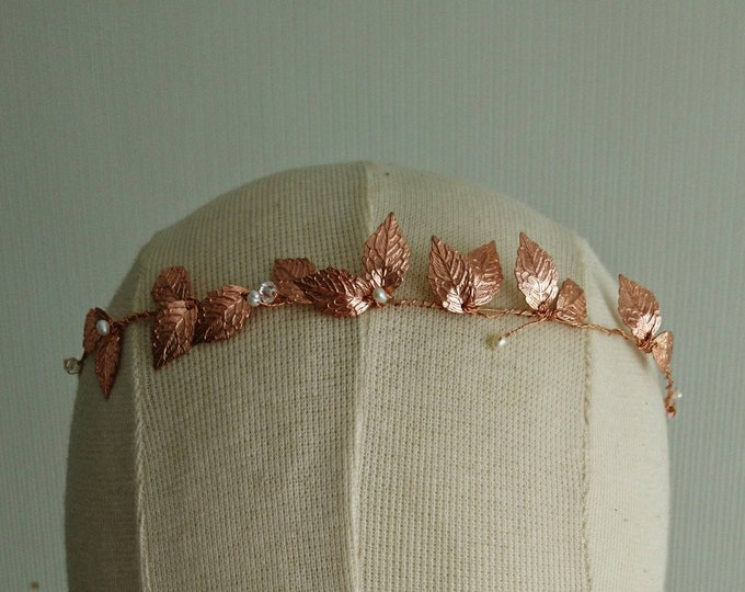 Tiara leaf rose gold,goddess halo, modern bride, muse hair accessory,festival hair,Greek costume party, boho style hair jewelry,summer party