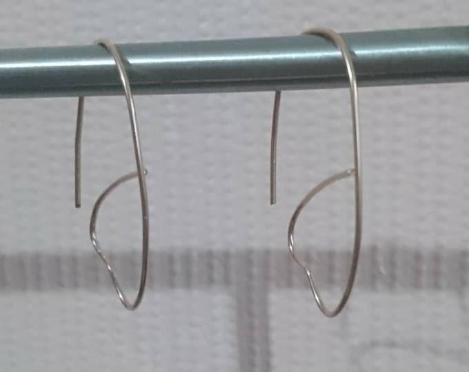 Contemporary heart threader earrings, modern minimal hoops, heart hoop earrings