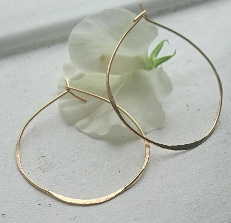 Hand textured hoop earrings irregular large hoop earrings in 14k gold fill,