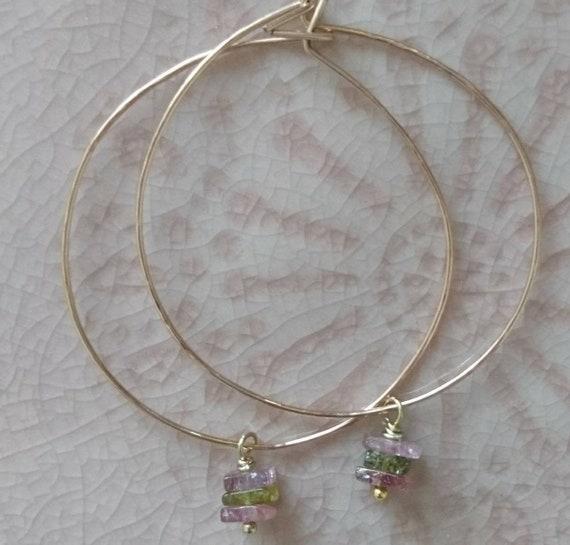 boho elegant chic summer jewellery tourmaline hoops modern feminine hoop earrings Watermelon tourmaline earrings pretty earrings