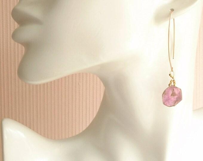 Tourmaline drop earrings, pink gemstone artisan jewelry