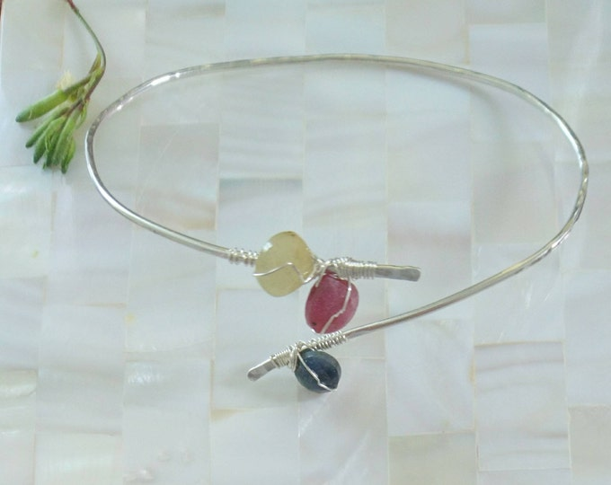 Sapphire bangle in sterling silver, multi coloured sapphire jewellery, September birthday gift for her, birthstone jewellery for September,